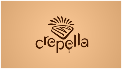 Chocolate crepes kiosk fastfood logo