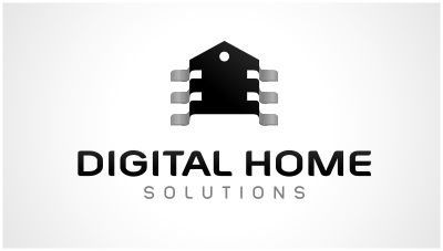 logo emblem symbol logotext design for Company specializing in supply, design and installation of Home Automation systems, audio and video distribution, structured cabling, AV and security
