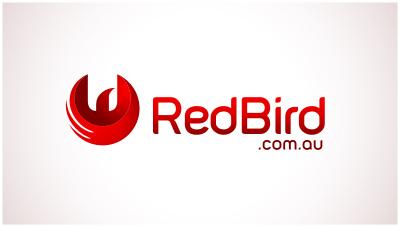 logo emblem symbol logotext design for red bird online store