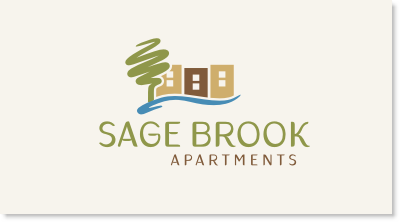 "Sage Brook is a community of over 200 apartments constructed in the 1970's and including one and two bedrooms. This is not a ""Class A"" property, but instead is more of a blue collar, ""Class C"" property. The apartments are two and three story walk-ups, so this is not a high-rise building. It is located just east of Denver, Colorado logo design"
