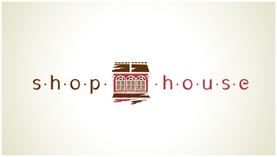 logo emblem symbol logotext design for fast-casual restaurant concept inspired by the iconic shophouses of Southeast Asia
