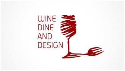 logo emblem symbol logotext design for Wine, Dine and Design Wine, food and art exhibition